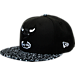 Front view of New Era Chicago Bulls NBA Composition Hook Snapback Hat in Black