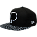 Front view of New Era Indiana Pacers NBA Composition Hook Snapback Hat in Black