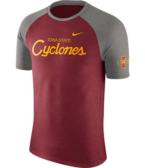 Men's Nike Iowa State Cyclones College Script Tri-Blend Raglan Shirt