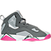 Right view of Girls' Grade School Jordan True Flight (3.5y-9.5y) Basketball Shoes in Cool Grey/White/Wolf Grey/Vivid Pink