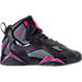 Right view of Girls' Grade School Jordan True Flight (3.5y-9.5y) Basketball Shoes in Black/Dark Grey/Deadly Pink