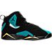 Right view of Girls' Grade School Jordan True Flight (3.5y-9.5y) Basketball Shoes in Black/Rio Teal/Metallic Gold