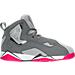 Right view of Girls' Preschool Jordan True Flight Basketball Shoes in Cool Grey/Vivid Pink/Wolf Grey