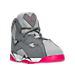 Three Quarter view of Girls' Preschool Jordan True Flight Basketball Shoes in Cool Grey/Vivid Pink/Wolf Grey