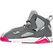 Left view of Girls' Preschool Jordan True Flight Basketball Shoes in Cool Grey/Vivid Pink/Wolf Grey