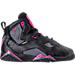 Right view of Girls' Preschool Jordan True Flight Basketball Shoes in Black/Dark Grey/Deadly Pink