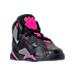 Three Quarter view of Girls' Preschool Jordan True Flight Basketball Shoes in Black/Dark Grey/Deadly Pink