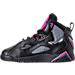 Left view of Girls' Preschool Jordan True Flight Basketball Shoes in Black/Dark Grey/Deadly Pink