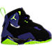 Right view of Boys' Toddler Jordan True Flight Basketball Shoes in Black/Electric Green/Concord