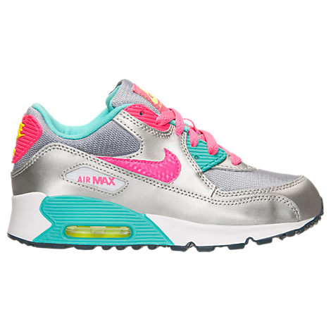 girls preschool nike air max 90 premium leather running shoes