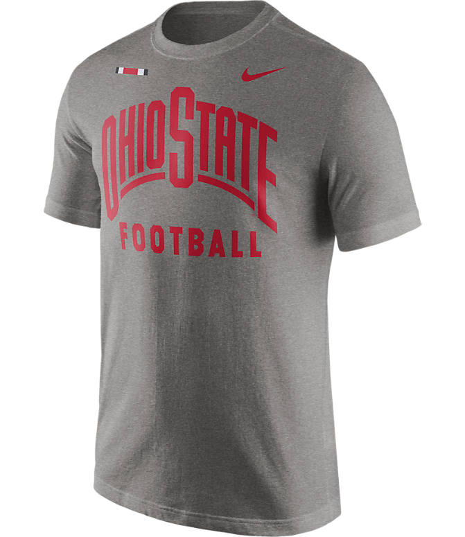 Front view of Men's Nike Ohio State Buckeyes College Facility T-Shirt in Dark Grey