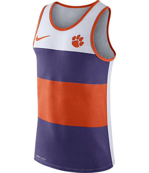 Men's Nike Clemson Tigers College Wide Stripe Tank
