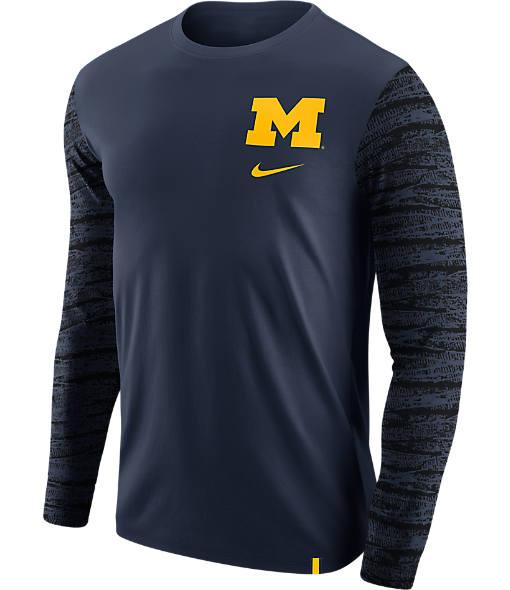 Men's Nike Michigan Wolverines College Enzyme Pattern Long-Sleeve Shirt