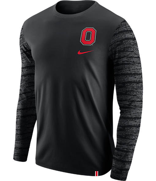 Men's Nike Ohio State College Enzyme Pattern Long-Sleeve Shirt