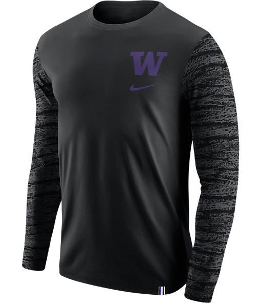 Men's Nike Washington Huskies College Enzyme Pattern Long-Sleeve Shirt