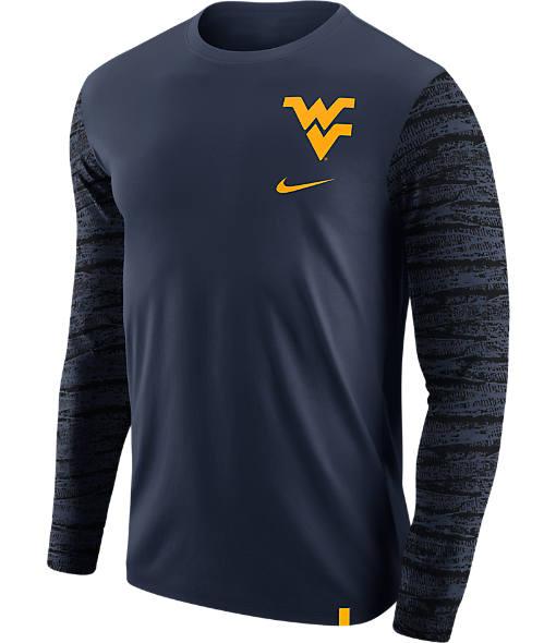 Men's Nike West Virginia Mountaineers College Enzyme Pattern Long-Sleeve Shirt