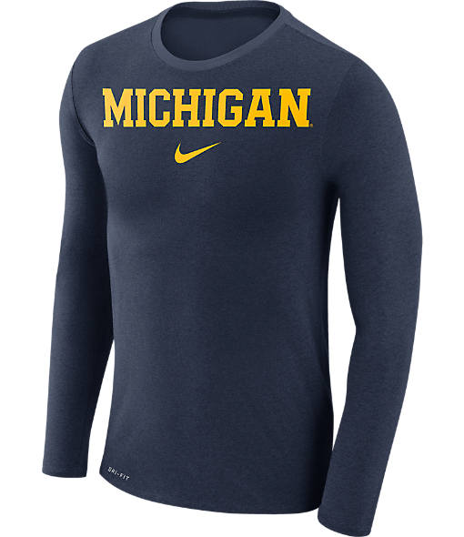 Men's Nike Michigan Wolverines College Long-Sleeve Marled T-Shirt