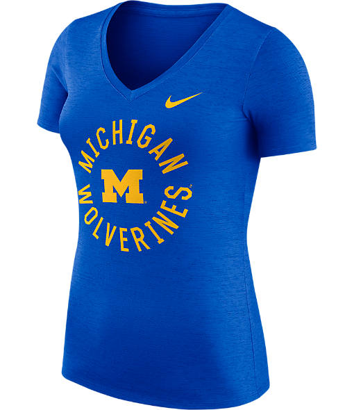 Women's Nike Michigan Wolverines College Dri-FIT Touch V-Neck T-Shirt
