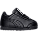 Right view of Boys' Toddler Puma Roma Basic Casual Shoes in Black/Black