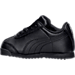 Left view of Boys' Toddler Puma Roma Basic Casual Shoes in Black/Black