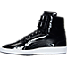 Left view of Men's Puma Sky II Hi Patent Emboss Casual Shoes in Puma Black