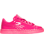 Girls' Preschool Puma Basket Patent Iced Glitter Casual Shoes