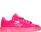 Girls' Preschool Puma Basket Patent Iced Glitter Casual Shoes