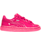 Girls' Toddler Puma Basket Patent Iced Glitter Casual Shoes