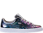 Girls' Grade School Puma Basket Classic Hologram Casual Shoes