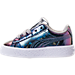 Left view of Girls' Toddler Puma Basket Classic Hologram Casual Shoes in Silver Hologram