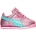 Right view of Girls' Toddler Puma Roma Glitz Glamm Casual Shoes in Prism Pink/Aruba Blue