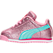 Left view of Girls' Toddler Puma Roma Glitz Glamm Casual Shoes in Prism Pink/Aruba Blue