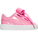 Right view of Girls' Toddler Puma Basket Heart Casual Shoes in Pink