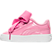 Left view of Girls' Toddler Puma Basket Heart Casual Shoes in Pink