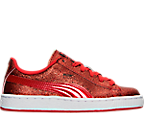 Girls' Preschool Puma Basket Holiday Glitz Casual Shoes