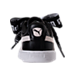 Back view of Women's Puma Basket Heart DE Casual Shoes in Black/White
