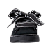 Front view of Women's Puma Suede Heart Satin Casual Shoes in Black/Black