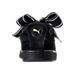 Back view of Women's Puma Suede Heart Satin Casual Shoes in Black/Black