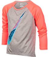 Girls' Preschool Nike Dri-FIT Swoosh Fill Raglan Long Sleeve T-Shirt