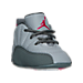 Three Quarter view of Air Jordan Retro 12 Crib Basketball Shoes in Wolf Grey/Vivid Pink/Cool Grey