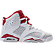 Right view of Boys' Grade School Air Jordan Retro 6 Basketball Shoes in White/Gym Red/Pure Platinum