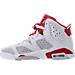 Left view of Boys' Grade School Air Jordan Retro 6 Basketball Shoes in White/Gym Red/Pure Platinum