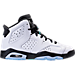 Right view of Boys' Grade School Air Jordan Retro 6 Basketball Shoes in White/Hyper Jade/Black