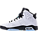 Left view of Boys' Grade School Air Jordan Retro 6 Basketball Shoes in White/Hyper Jade/Black