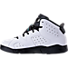Left view of Boys' Preschool Jordan Retro 6 Basketball Shoes in White/Hyper Jade/Black