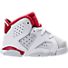 Right view of Boys' Toddler Jordan Retro 6 Basketball Shoes in White/Gym Red/Pure Platinum