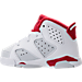 Left view of Boys' Toddler Jordan Retro 6 Basketball Shoes in White/Gym Red/Pure Platinum