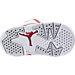 Bottom view of Boys' Toddler Jordan Retro 6 Basketball Shoes in White/Gym Red/Pure Platinum