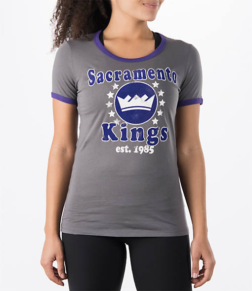 Women's New Era Sacramento Kings NBA Vintage Ringer T-Shirt
