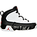 Right view of Boys' Toddler Jordan Retro 9 Basketball Shoes in White/True Red/Black